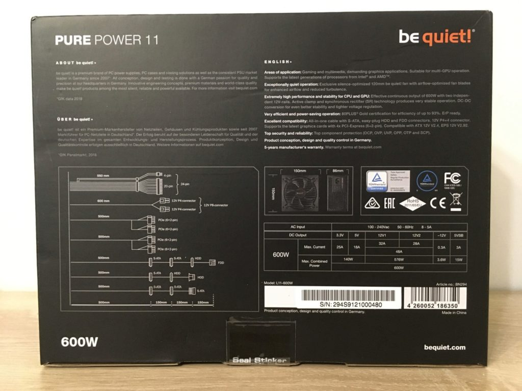 Review on BeQuiet PURE POWER 11 600W Gold BN294 Power Supply - Image 2