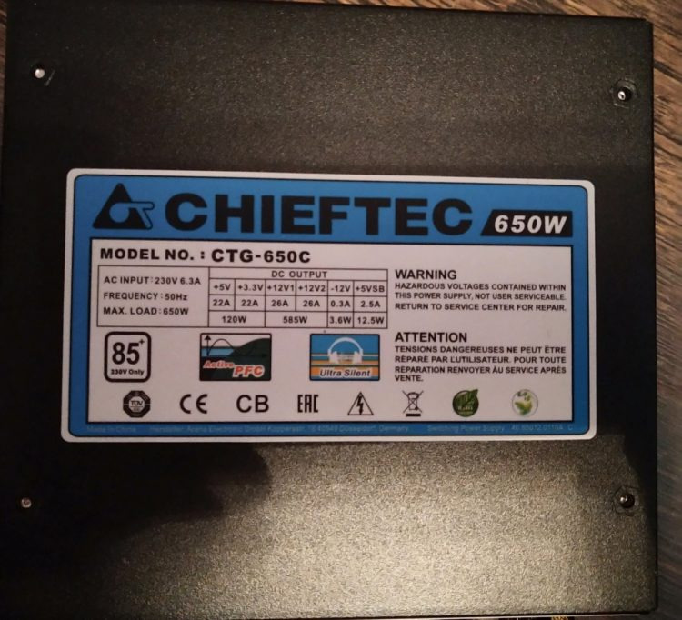 Power Supply Chieftec CTG-650C 650W, photo 9