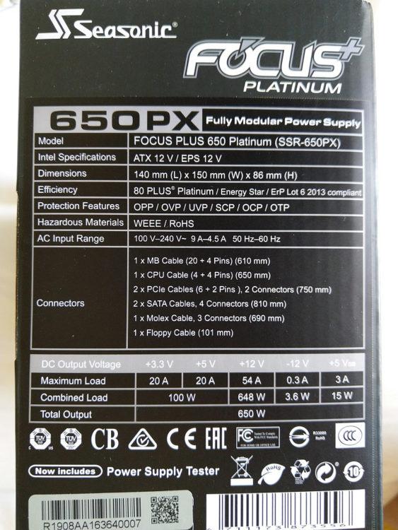Power Supply SEASONIC Focus Plus SSR-650PX ATX 650W Platinum, image 11