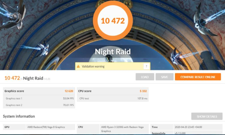 AMD Ryzen 3 3200G 3DMark Night Raid