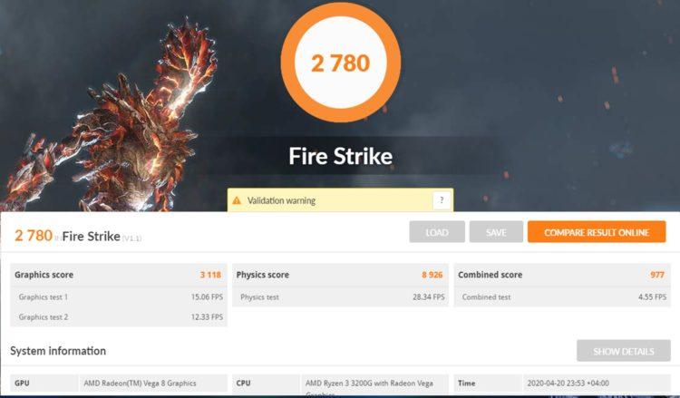 AMD Ryzen 3 3200G 3DMark Fire Strike