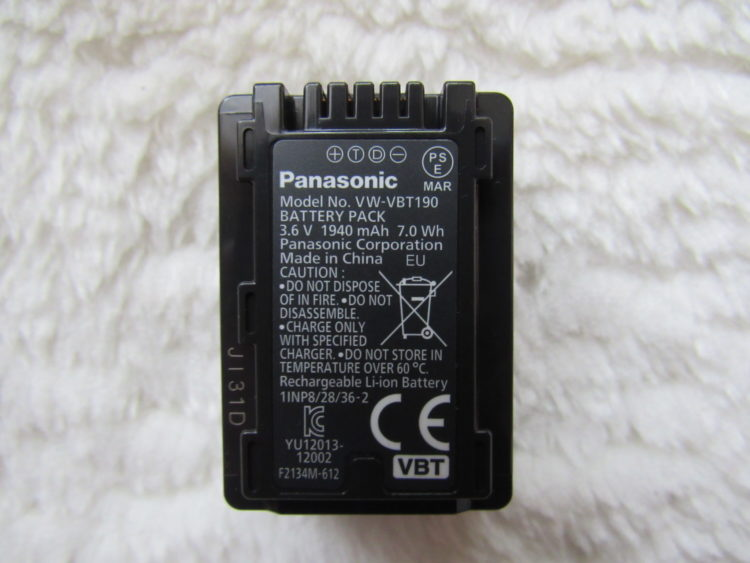 Panasonic HC-V380 Camcorder, Battery VW-VBT190