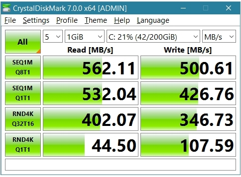 Crucial M.2 MX500 SSD 250GB 2280 SATA3 CT250MX500SSD4, CrystalDiskMark results