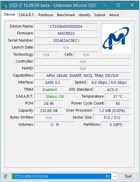 Crucial M.2 MX500 SSD 250GB 2280 SATA3 CT250MX500SSD4, SSD-Z results